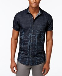 Inc International Concepts Men's Triassic Denim Short Sleeve Shirt Only At Macy's Navy