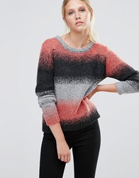Pieces Pennie Stripe Wool Knit Jumper Spiced Coral Blue