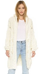 For Love And Lemons Braided Cable Hooded Cardigan Creme