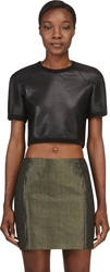 Denis Gagnon Black Grained Leather Cropped T Shirt