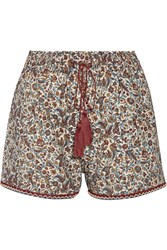 Talitha Printed Cotton And Silk Blend Shorts Merlot