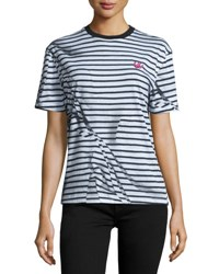 Mcq By Alexander Mcqueen Short Sleeve Classic Striped Tee Black White Broken Str