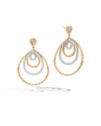 Classic Chain 18K Gold And Diamond Concentric Drop Earrings John Hardy