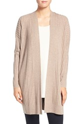 Eileen Fisher Women's Rib Knit Wool Open Front Long Cardigan