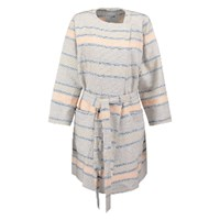 Bzr Grey Cathy Stripe Cotton Linen Coat