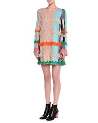 Missoni Long Sleeve Fringe Trimmed Dress Light Blue