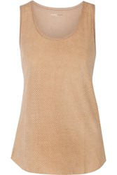 Majestic Perforated Leather And Cotton Tank Nude