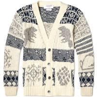 Thom Browne Donegal Icon Fair Isle Cardigan White Mix