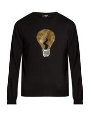 Fendi Light Bulb Long Sleeved Wool Sweater Black