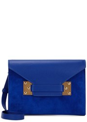 Sophie Hulme Milner Blue Suede And Leather Clutch