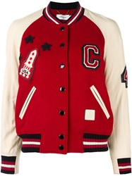 Coach Varsity Bomber Jacket Red