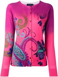 Etro Paisley Print Cardigan Pink And Purple