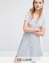 Reclaimed Vintage Button Front Dress In Muted Print Blue