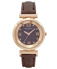 Charter Club Women's Brown Polyurethane Strap Watch 31Mm Only At Macy's Rose Gold