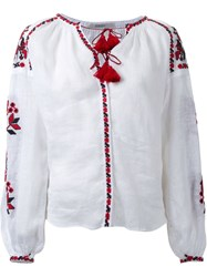 Vita Kin Rose Embroidered Blouse White
