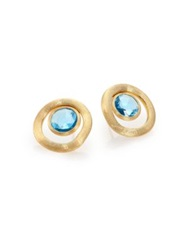 Marco Bicego Jaipur Color Blue Topaz And 18K Yellow Gold Stud Earrings Gold Blue