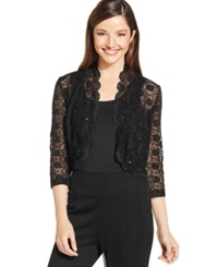 R And M Richards Scalloped Sequin Lace Bolero Black