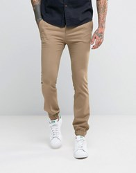 Asos Extreme Super Skinny Wool Look Smart Joggers In Tan Ermine