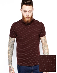 Asos Polo Shirt With Polka Dot Print Oxblood