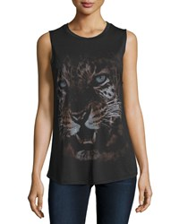 Haute Hippie Tiger Print Muscle Tee Black Gray