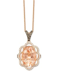 Le Vian Chocolatier Peach Morganite 4 1 3 Ct. T.W. And Diamond 1 2 Ct. T.W. Pendant Necklace In 14K Rose Gold