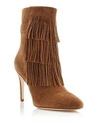 Via Spiga Vesta Fringe High Heel Booties Rattan