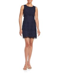Jessica Simpson Tiered Lace Cocktail Dress Navy