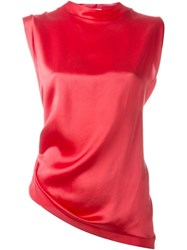 Aries Twisted Open Back Blouse Red