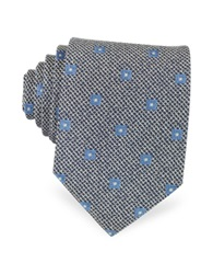 Forzieri Navy Blue And White Geometric Patterned Woven Silk Tie