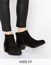 New Look Wide Fit Leather Bill Ankle Boots Black