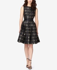 Tahari By Arthur S. Levine Asl Metallic Houndstooth Fit And Flare Dress Black Gold