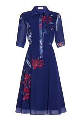 Almost Famous Blossom Shirt Dress Navy