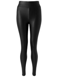 Miss Selfridge Wet Look Leggings Black