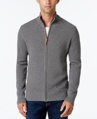 Tommy Hilfiger Men's Fabian Full Zip Sweater Grey Heather