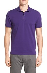 Boss Men's 'Parlor' Regular Fit Cotton Pique Polo Purple