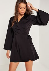 Missguided Silky Kimono Sleeve Swing Dress Black Black