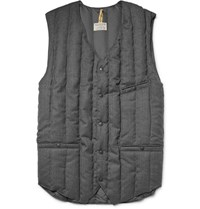 Rocky Mountain Featherbed Six Month Quilted Wool Twill Down Gilet Gray
