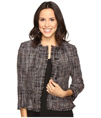 Ivanka Trump Tweed Jacket With Fringe Sleeves Black Ballet Women's Coat