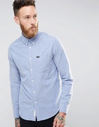 Lee Buttondown Brushed Oxford Shirt Blue Bright Navy