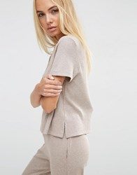 Asos Lounge Ribbed Tunic T Shirt With Side Splits Mink Beige