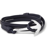 Miansai Leather And Silver Plated Anchor Wrap Bracelet Blue
