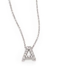 Roberto Coin Tiny Treasures Diamond And 18K White Gold Love Letter Pendant Necklace A B C J