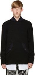 Sacai Black Shawl Neck Sweater