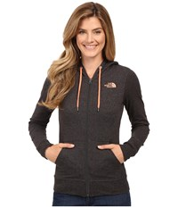 The North Face Lite Weight Full Zip Hoodie Tnf Dark Grey Heather Feather Orange Women's Sweatshirt Black
