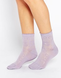 Jonathan Aston Embroidered Socks Lilac