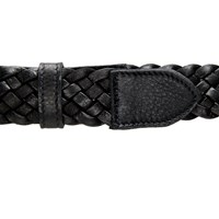 Brass Fusion Italian Leather Braided Belt Black