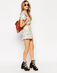 Asos Reclaimed Vintage Co Ord Shorts With Frill In Textured Floral