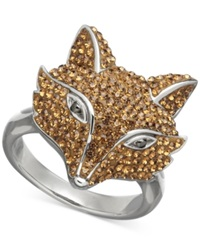 Kaleidoscope Swarovski Crystal Fox Ring In Sterling Silver