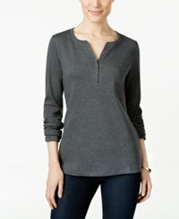 Karen Scott Long Sleeve Henley Top Only At Macy's Charcoal Heather