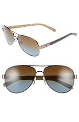 Women's Tory Burch 57Mm Polarized Aviator Sunglasses Gunmetal Blue Gradient Polar